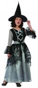 Mittelalterliches Hexenkostüm Halloween-Mädchenkostüm grau-schwarz