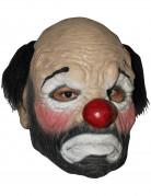 Trauriger Clown - Maske mit Haaren und Clownsnase Kostümaccessoire beige-schwarz-rot