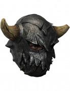 Schaurige Wikinger-Maske mit Hörnern schwarz-braun