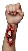 Offene Armwunde-LatexapplikationHalloween-Wundenapplikation rot-weiss