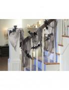 Gruseliges Dekotuch mit Fledermäusen Halloween Party-Deko grau-schwarz 61 x 457 cm