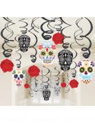 Tag der Toten Sugar Skull Hänge-Spiralen Halloween Party-Deko Set 30-teilig bunt 13-31cm