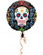 Sugar Skull Totenschädel Folien-Ballon Halloween Party-Deko bunt 43x43cm