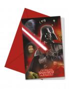 Darth Vader™-Einladungskarten+Briefumschläge 6 Stück bunt