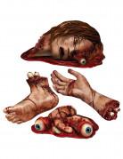 Blutige Leichenteile Cutouts Halloween Partydeko-Set 4-teilig rot-beige