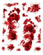 Blutige Fußabdrücke Blutspuren 15 Stück rot 30x43cm