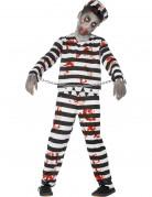 Zombie Gefangener Sträfling Halloween Kinderkostüm schwarz-weiss-rot
