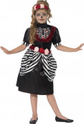 Süsses Sugar Skull Skelett-Kleid Halloween Kinderkostüm schwarz-bunt