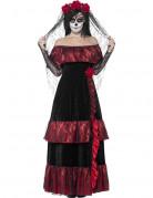 Tag der Toten Sugar Skull Braut Damenkostüm schwarz-rot