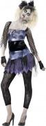 80er Zombie Halloween Damenkostüm schwarz-lila