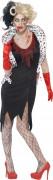 Zombie-Lady Halloween-Damenkostüm schwarz-weiss-rot