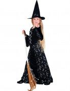 Zauberhafte Hexe Halloween-Kinderkostüm schwarz-silber