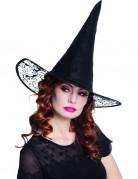 Hexen Damen-Hut mit Spitze Halloween schwarz