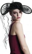 Gothic Hut mit Spitze und Rose schwarz