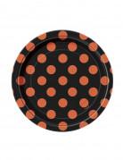 gepunktete Teller Halloween Pappteller Set 8 Stück schwarz-orange 17cm