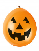 Lachende Kürbis-Luftballons Halloween-Ballons orange-schwarz 10 Stück 23cm