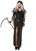 Sensenfrau-Kostüm Halloween-Damenkostüm schwarz