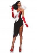 Grausame-Dame-Kostüm schwarz-weiss-rot