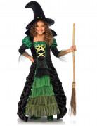 Märchenhaftes Hexenkostüm für Kinder schwarz-grün
