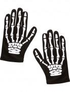 Skelett-Handschuhe Kinder schwarz-weiss