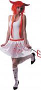 Blutiger Mini-Rock Halloween-Damenrock weiss-rot 35cm