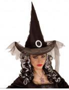 Schwarzer Hexen Hut Halloween für Damen schwarz