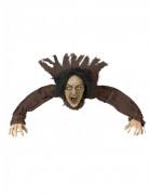 Sprechende Hexe mit Leuchtaugen Halloween-Bodendekoration braun-schwarz-beige 50x90cm