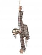 Aufgehängter Zombie Halloween-Deko grau-grün 92 cm