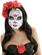Dia de los Muertos Sugarskull Halloween Gesichtsmaske weiss-bunt