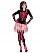 Süsse Skelett-Frau Halloween Damenkostüm schwarz-pink