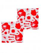 Blutige Handabdrücke Halloween-Servietten 33cm 12er-Set weiss-rot