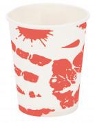 Blutige Handabdrücke Halloween-Pappbecher 25cl 6er-Set weiss-rot
