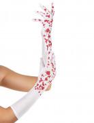 Blutverschmierte Handschuhe Halloween Kostümaccessoire weiss-rot 42 cm lang