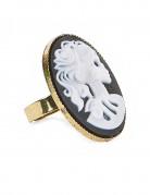 Gothic-Ring Skelettfrau gold-schwarz-weiss