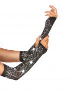 Fingerlose Halloween-Handschuhe Spinnennetz schwarz-weiss 13cm