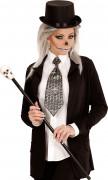 Krawatte Halloween-Accessoire silber-schwarz