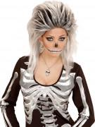 Totenschädel-Halskette Halloween-Schmuck silber-schwarz