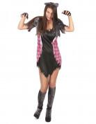Sexy Werwölfin Halloween-Damenkostüm schwarz-weiss-grau