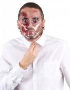 Blutige Maske mit offenen Wunden Halloween weiss-rot