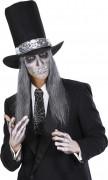 Halloween Krawatte Spinnweben 45cm schwarz-silber
