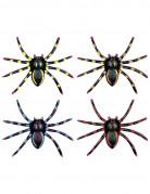 Nachtleuchtende Spinnen Halloween-Deko 4-er Set bunt 5x8x2cm