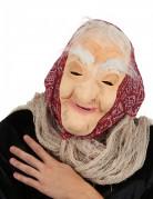 Halloween Maske Alte Hexe mit Haar und Kopftuch für Erwachsene hautfarben-rot