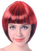 Kurzhaar-Perücke mit Pony Kostümaccessoire rot-schwarz