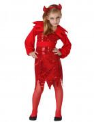 Glitzernde Teufelin Halloween-Kinderkostüm mit Pailletten rot