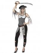 Geisterpiratin Halloween Damenkostüm schwarz-weiss-grau