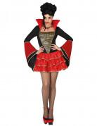 Sexy Barock-Vampirin Damenkostüm schwarz-rot-gold