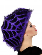 Halloween Irokesen-Perücke Spinnweben schwarz-lila