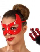 Teufelinnen-Set Maske und Teufelsgabel rot-schwarz