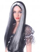 Langhaarperücke Halloween Kostümzubehör schwarz-weiss