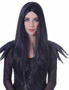 Langhaar Halloween-Perücke Mittelscheitel schwarz